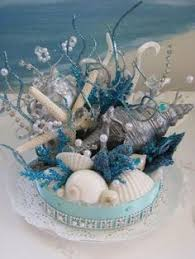 Seashell Centerpieces For Weddings by Beach Centerpiece With Teal Colors Sea Shells And A Starfish