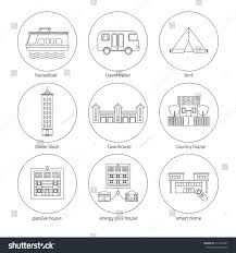Different Styles Of Houses Icons Set Houses Different Types Homes Stock Vector 511422457