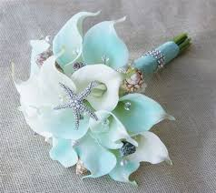 wedding bouquets with seashells touch mint and crystals calla lilies and seashells