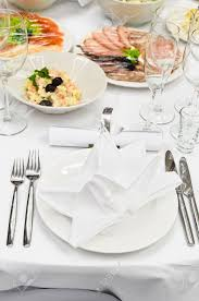Fancy Place Setting Table Appointments For Dinner In Restaurant Detail Of A Fancy