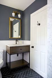 Navy Blue And White Bathroom by Fascinating Subway Tile Walls Dark Floor Bathrooms Photo Design
