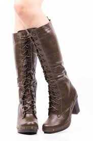 womens boots zip up olive green lace up stud accent zip up knee high boots boots