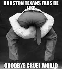 Texans Memes - houston texans fans be like goodbye cruel world meme
