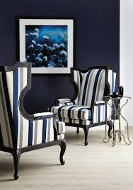 bernhardt talbot chair in a navy and ivory woven stripe and a
