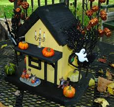 adorable halloween birdhouse wooden hand painted birdhouse back