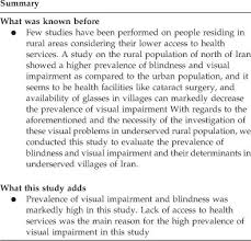 Services For The Blind And Visually Impaired The Prevalence Of Visual Impairment And Blindness In Underserved