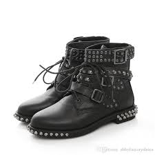 womens leather biker boots sale studded 2017 rivets genuine leather motorcycle boots