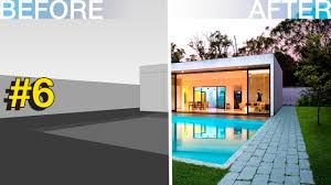 photoshop architecture visualization 6 modern house with pool