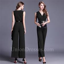 formal jumpsuit tea length black jersey formal occasion evening jumpsuit