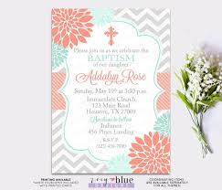 Confirmation Invitation Cards Baptism Invitation Floral Coral Mint First Communion