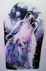howling wolf wolf design pencil and in color howling