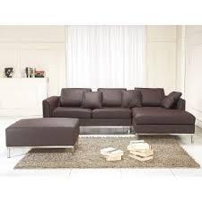 canapé avec pouf canapé d angle g canapé avec pouf en cuir brun sofa oslo achat