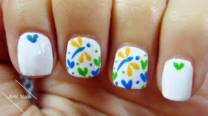 cute dragonfly and heart nail art easy nail art for short nails