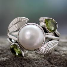 Housewarming Gifts India by Pearl And Peridot Cocktail Ring From India Jewelry Mumbai