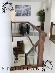 Glass Banisters For Stairs Black Walnut Balustrade X Vision Glass With Brackets