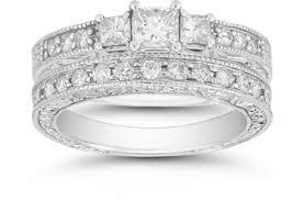 White Gold Cz Wedding Rings by Vintage Cubic Zirconia Bridal Ring Set 14k White Gold