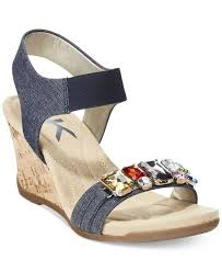 lyst anne klein larow embellished wedge sandals in blue