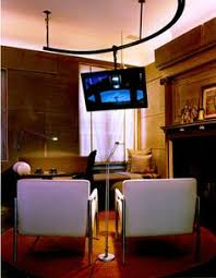 Vaulted Ceiling Tv Mount by Ceiling Mounted Tv Bracket That Swivels Tilts Telescopes And Has
