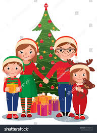 cartoon vector illustration family christmas tree stock vector