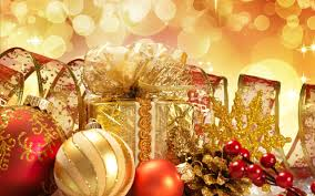 christmas accessories golden presents and accessories for a christmas
