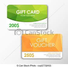 green gift voucher vector illustration green gift card and orange gift voucher templates polygonal