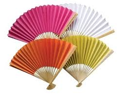 paper fan coloured paper fans personalised handle