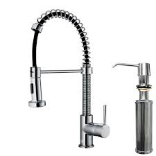 vigo vg02001chk2 pull out spray kitchen faucet in chrome with soap