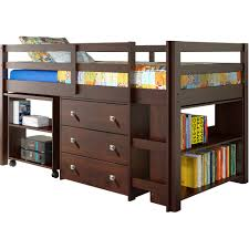 built in desk with shelves and reading lamp also loft beds for