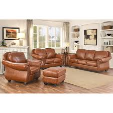 clarke 4 piece top grain leather living room set