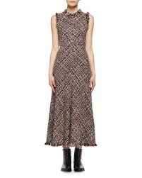 mcqueen wishing tree tweed sleeveless midi dress black