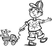 boy playing toy car coloring free printable