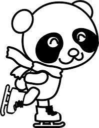 clipart skating panda coloring page