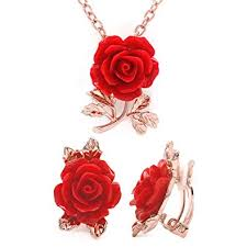 gold red rose necklace images Red flower jewelry set rose gold plated pendant jpg