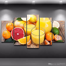 canvas painting for home decoration 2017 fruit oranges juice glass 5 panel canvas painting modern home