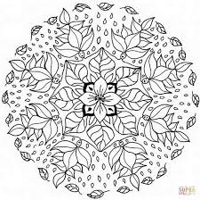 mandala with floral pattern coloring page free printable