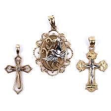 religious pendants 10k yellow gold and white gold religious pendants ebth