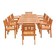 vifah eco friendly 9 piece wood outdoor dining set with