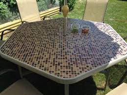 Patio Tile Table Diy Tiled Table Refurbished Broken Glass Table Into This