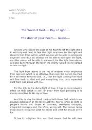 what is a ray of light 5715 the word of god ray of light the door of your heart