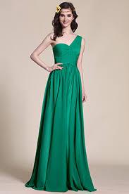 one shoulder dark green empire waist evening dress 07151304