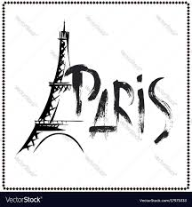 word paris eiffel tower hand drawn royalty free vector image