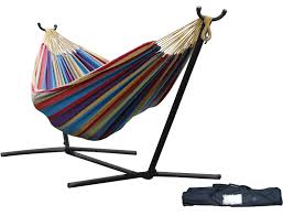 vivere double hammock with space saving steel stand only 79 99