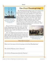 thanksgiving worksheets the first thanksgiving reading passage