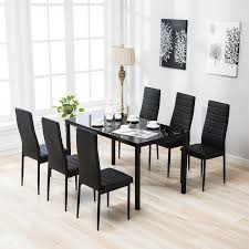 7 piece dining table set 6 chairs black glass metal kitchen room