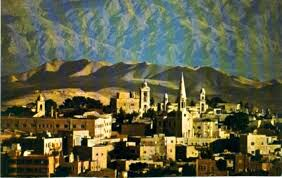 bethlehem israel with the mountains of moab in the background a