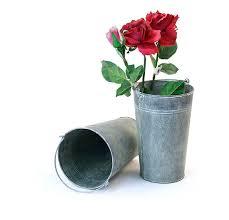 Vase French French Bucket Vase 8 5 Inch Tall White Wash Galvanized Rfby885 1