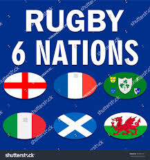 Flags Of Nations Six Nations Championship Card Flags England Stock Vector 785645131