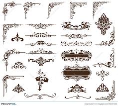 vector set vintage ornaments corners borders illustration