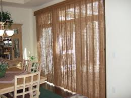 Bamboo Panel Curtains Interior Black Iron Rod And Beige Drapes For Patio Sliding Door