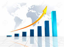 growing chart growing chart with golden arrow pointing upwards against the
